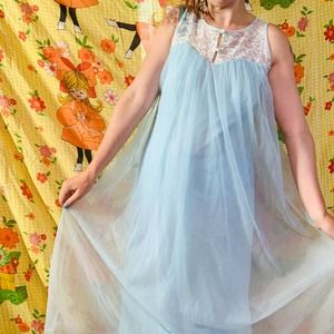 Vtg 60s baby blue nylon chiffon and lace nightgown